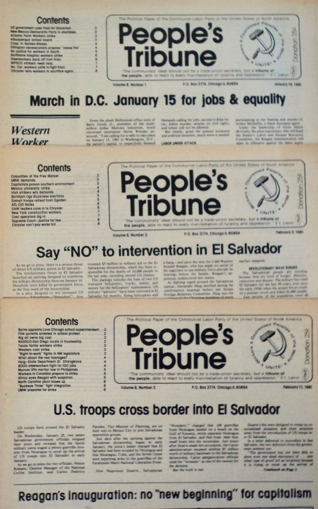 PEOPLE'S TRIBUNE: THE POLITICAL PAPER OF THE COMMUNIST LABOR PARTY OF THE UNITED STATES OF NORTH AMERICA