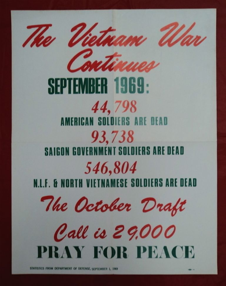The Vietnam War Continues: March, 1969: 37, 812 Ameircans Are Dead. 75,873 South Vietnamese Are Dead. 457,132 N.L.F. & North Vietnamese Are Dead. 33,000 Is the April Draft Call. Pray for Peace. CLERGY AND LAYMEN CONCERNED ABOUT VIETNAM.