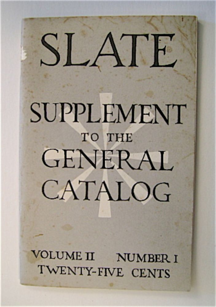 SLATE SUPPLEMENT TO THE GENERAL CATALOG