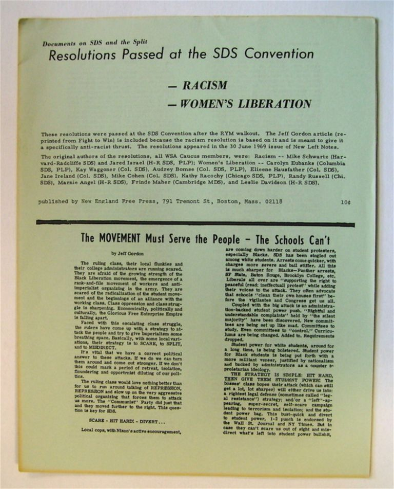 Resolutions Passed at the SDS Convention: Racism, Women's Liberation. STUDENTS FOR A. DEMOCRATIC SOCIETY.