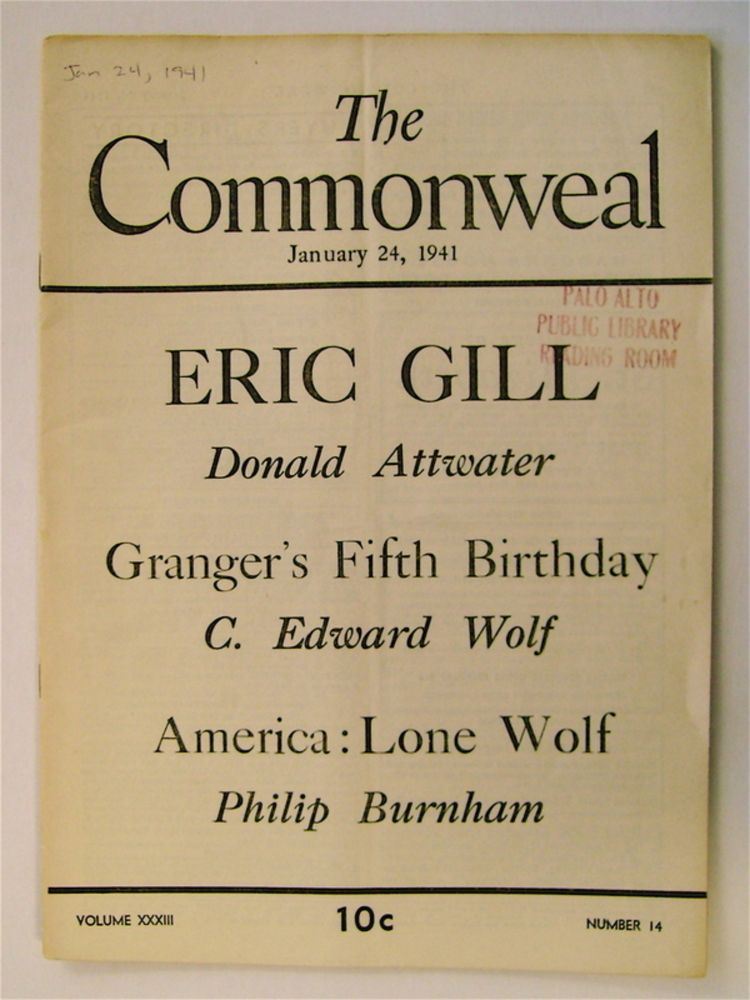"""""""In Memoriam: Eric Gill."""" In """"The Commonweal"""" Donald ATTWATER."""