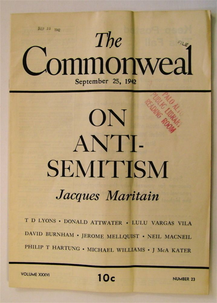 """""""On Anti-Semitism."""" In """"The Commonweal"""" Jacques MARITAIN."""