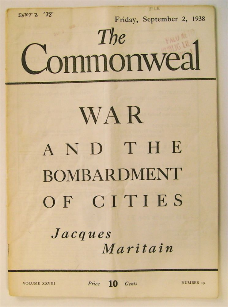 """War and the Bombardment of Cities."" In ""The Commonweal"" Jacques MARITAIN."