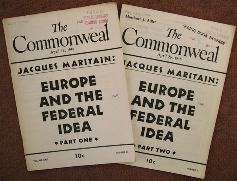 """""""Europe and the Federal Idea."""" In """"The Commonweal"""" Jacques MARITAIN."""