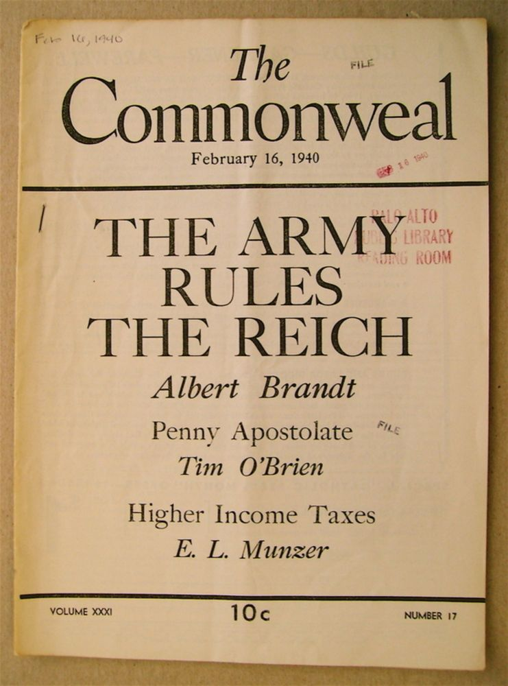 """""""The Army Rules the Third Reich."""" In """"The Commonweal"""" Albert A. BRANDT."""