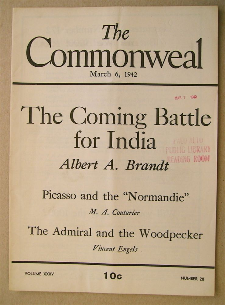 """""""The Coming Battle for India."""" In """"The Commonweal"""" Albert A. BRANDT."""