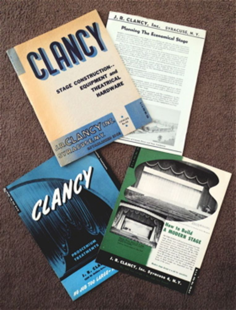 Clancy Stage Construction -- Equipment and Theatrical Hardware. INC J. R. CLANCY.