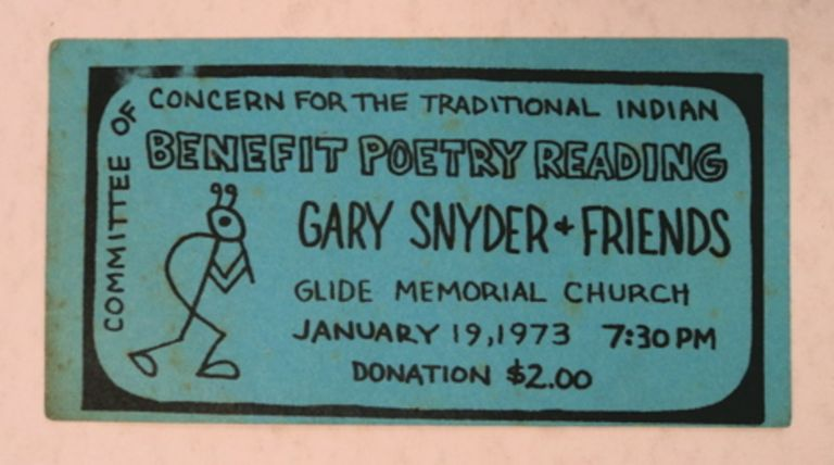 Committee of Concen for the Traditional Indian Benefit Poetry reading, Gary Snyder & Friends, Glide Memorial Church, January 19, 1973, 7:30 PM. Gary SNYDER.