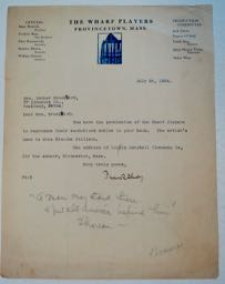 TLs dated 7/26/24 on the letterhead of the Wharf Players, Provincetown, Mass., of which Shay was the Director. Frank SHAY.