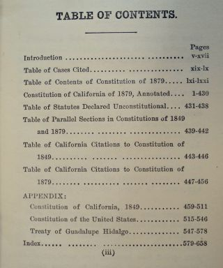 The Constitution of the State of California: Adopted in Convention, at Sacramento, March 3, 1879, Ratified by a Vote of the People, May 7, 1879