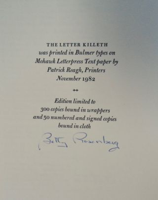 The Letter Killeth: Three Bibliographical Essays for Bibliomaniacs