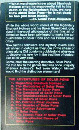 The Uncollected Cases of Solar Pons
