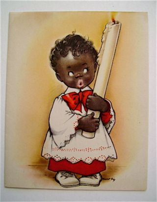 Christmas Card. Image of little black choir boy holding a very big candle. Charlot BYJ, color...