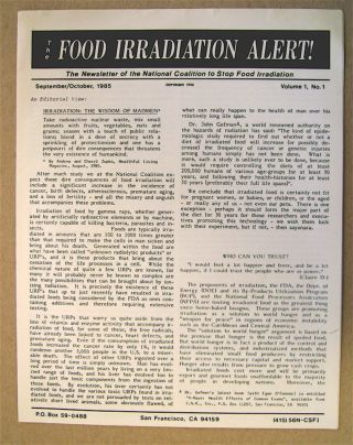THE FOOD IRRADIATION ALERT!: THE NEWSLETTER OF THE NATIONAL COALITION TO STOP FOOD IRRADIATION