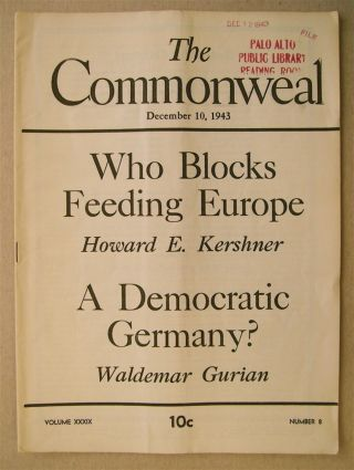 """A Democratic Germany?"" In ""The Commonweal"" Waldemar GURIAN"