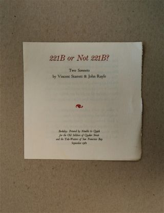 221B or Not 221B: Two Sonnets. Vincent STARRETT, John Ruyle