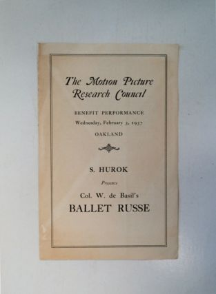 The Motion Picture Research Council Benefit Performance, Wednesday, February 3, 1937, Oakland: S....