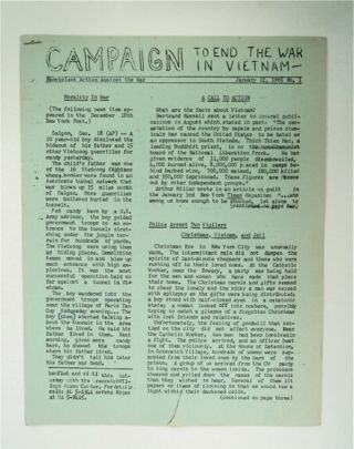 CAMPAIGN TO END THE WAR IN VIETNAM: NONVIOLENT ACTION AGAINST THE WAR