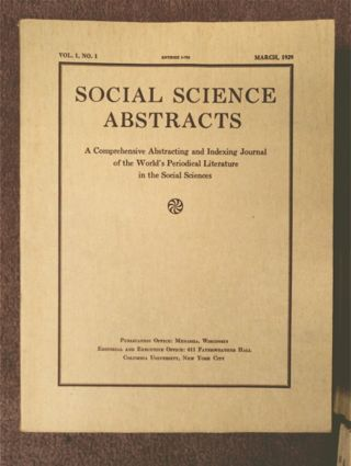 SOCIAL SCIENCE ABSTRACTS: A COMPREHENSIVE ABSTRACTING AND INDEXING JOURNAL OF THE WORLD'S PERIODICAL LITERATURE IN THE SOCIAL SCIENCES