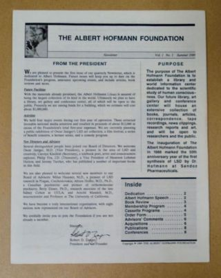 THE ALBERT HOFMANN FOUNDATION NEWSLETTER